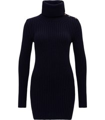 knitted mini dress with cowl neck and buttons