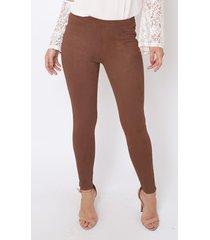calça legging the style box suede - caramelo marrom
