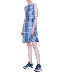 women's akris punto plaid flounce hem tweed shift dress