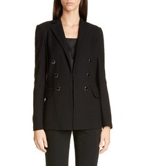 women's st. john collection gail double breasted wool blend knit blazer