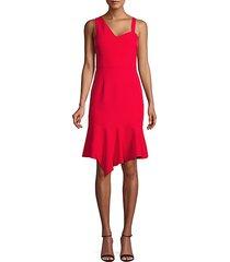asymmetrical flounce-hem sheath dress