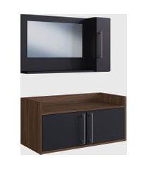 conjunto de balcáo e espelheira p/ banheiro akira preto e madeirado escuro e estilare móveis
