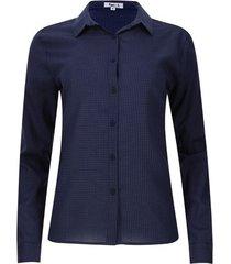 camisa cuello corbata mini cuadros color azul, talla xs