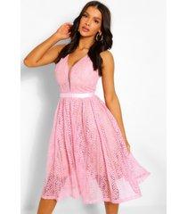 geheel kanten midi jurk met v-hals, roze