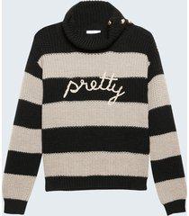 motivi maglia a righe con scritta lurex donna nero