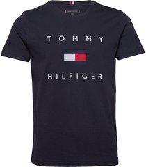 tommy flag hilfiger tee t-shirts short-sleeved blå tommy hilfiger