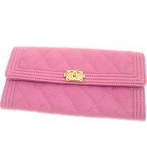 chanel boy caviar leather wallet pink sz: