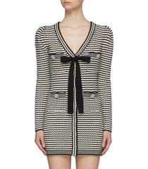 bow detail v-neck stripe knit dress