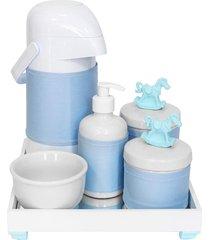 kit higiene espelho completo porcelanas, garrafa e capa cavalinho azul quarto bebê menino
