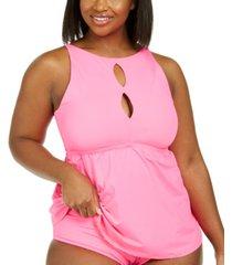 becca etc trendy plus size color code cutout tankini top women's swimsuit