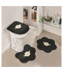 kit tapete banheiro 3 peças antiderrapante margarida folhas preta