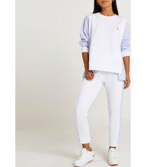 river island womens petite white shirt sleeve sweatshirt