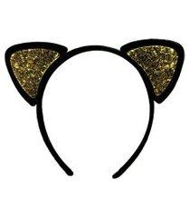 tiára de gatinho glitter dourado acessório carnaval fantasia
