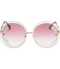 chloé women's 62mm round sunglasses - pink