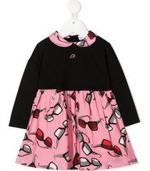 emporio armani kids sunglasses print party dress - black
