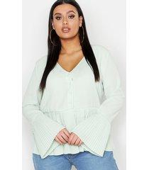 plus pleated hem button front blouse, sage