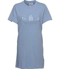 trefoil application tee dress w knälång klänning blå adidas originals
