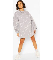 woman all over print oversized sweat dress, grey marl
