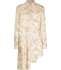 off-white x browns 50 camouflage pleated mini dress - neutrals