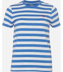 polo ralph lauren women's stripe short sleeve t-shirt - white/indigo blue - m