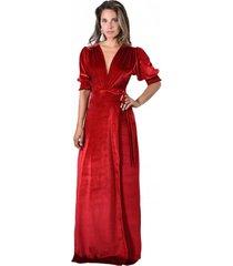 vestido largo sevilla rojo terciopelo maria paskaro