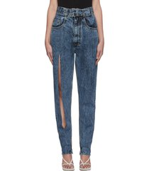 ripped leg belted stone wash jeans