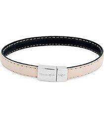 leather & sterling silver stitch bracelet