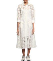women's sandro lace a-line dress, size 8 us - white