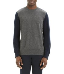 men's theory hilles standard fit crewneck cashmere sweater, size xx-large - grey