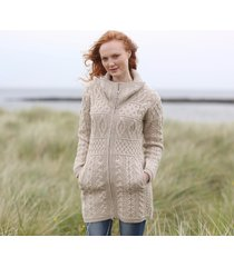 ladies double collar zipped coat beige large