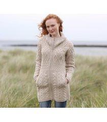 ladies double collar zipped coat beige large