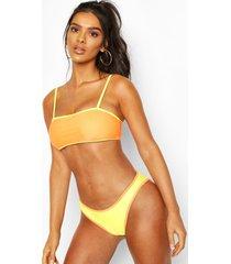 bikini met vierkante hals en contrast, geel