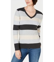 karen scott petite striped ribbed-knit cotton sweater, created for macy's