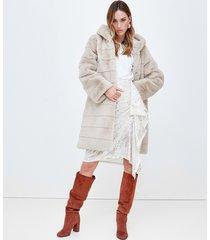 motivi cappotto con cappuccio in simil pelliccia donna bianco