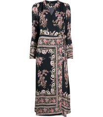 etro floral paisley-print wraparound midi dress - black