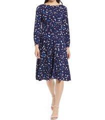 women's harper rose ruched long sleeve dress, size 16 - blue