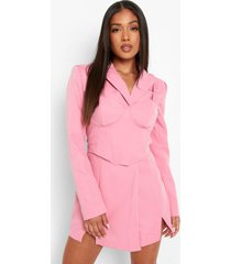 petite blazer en mini jurk met bralette, pink