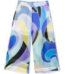 emilio pucci multicolor silk trousers