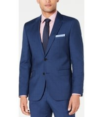 hugo men's modern-fit medium blue plaid suit jacket