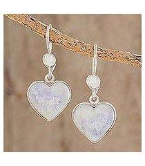 jade heart earrings, 'lilac love immemorial' (guatemala)