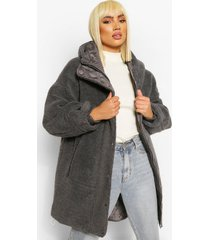 oversized teddy faux fur padded parka, charcoal