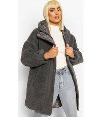 oversized gewatteerde faux fur teddy parka, houtskool
