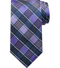 platinum designs plum & blue grid washable narrow tie