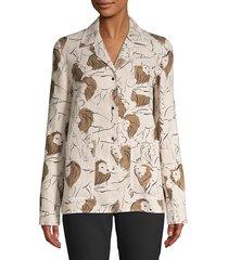 lafayette 148 new york women's jolisa leo print linen jacket - quarry - size xl