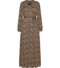 printed maxi length wrapover dress maxi dress galajurk bruin scotch & soda