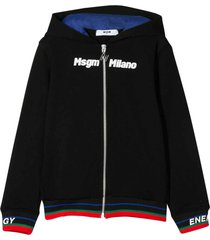 msgm black sweatshirt with hood, zip and multicolor details