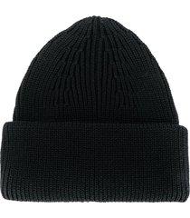 roberto collina ribbed-knit merino beanie - black