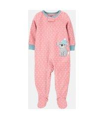 macacão pijama plush carter's coala rosa