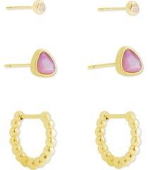kendra scott 3-pc. set stud & huggie hoop earrings