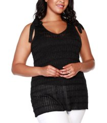 belldini black label plus size v-neck sweater tank with shoulder ties